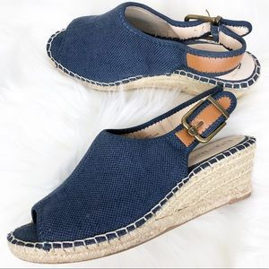 Ellen Tracy Denim Espadrille Wedge Heels